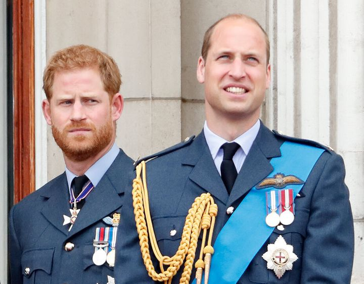 The Duke of Sussex and Duke of Cambridge mark the centenary of the Royal Air Force from the balcony of Buckingham Palace on July 10, 2018.