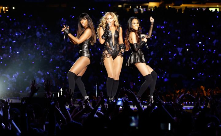 Michelle Williams, right, with Kelly Rowland and Beyonce during the Super Bowl XLVII Halftime Show in New Orleans on Feb. 3, 2013.