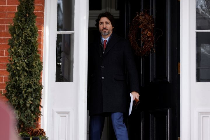 Prime Minister Justin Trudeau arrives to a news conference at Rideau Cottage on Jan. 19, 2021.