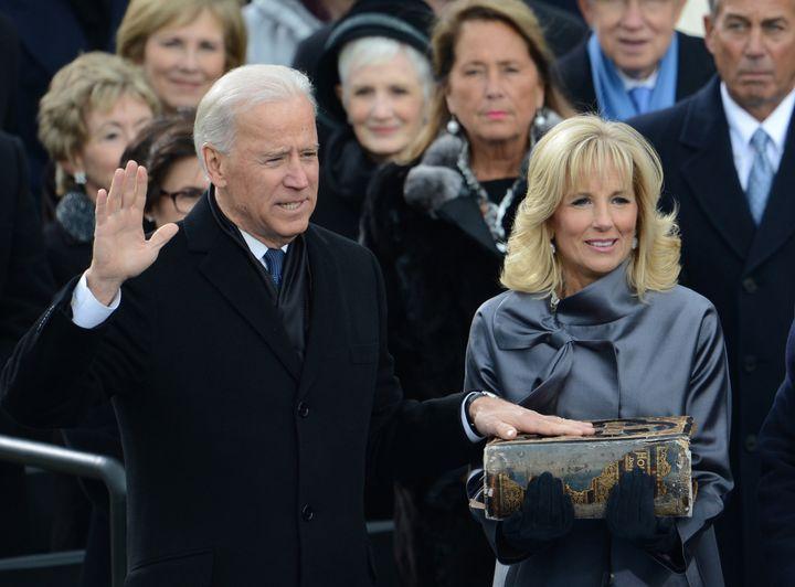 Joe Biden is sworn-in as vice-president with his wife Jill on Jan. 21, 2013, in Washington, DC.
