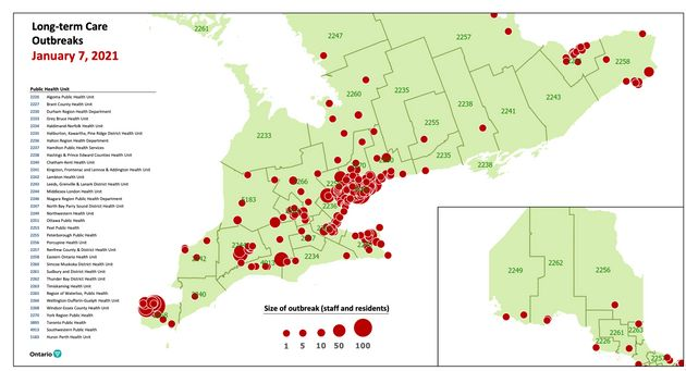 A map of COVID-19 outbreaks in Ontario's long-term care homes on Jan. 7, 2021, provided to journalists...