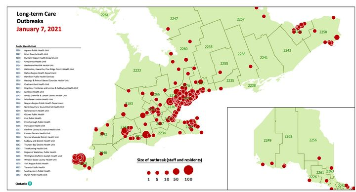 A map of COVID-19 outbreaks in Ontario's long-term care homes on Jan. 7, 2021, provided to journalists last week.