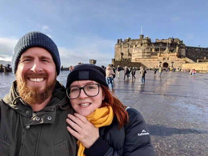 Amy Webster, originally from Brisbane, and fiancé Ben Goodwin, originally from South Australia, in Edinburgh.
