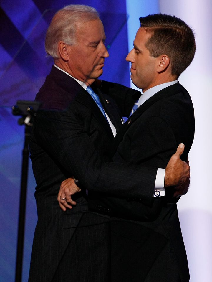 Joe Biden hugging his son Beau Biden during the Democratic National Convention in 2008.