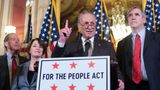 UNITED STATES - MARCH 27: Senate Minority Leader Charles Schumer, D-N.Y., conducts a news conference in the Capitol on the For the People Act, which will help reign in special interest group money in politics on Wednesday, March 27, 2019. Appearing from left are, Sens. Sheldon Whitehouse, D-R.I., Tom Udall, D-N.M., Amy Klobuchar, D-Minn., Schumer, Jeff Merkley, D-Ore., and Michael Bennet, D-Colo. (Photo By Tom Williams/CQ Roll Call)