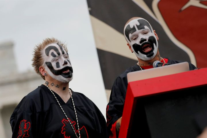 Insane Clown Posse members Joseph Utsler, known by his stage name Shaggy 2 Dope, and Joseph Bruce, known by his stage name Violent J, speak during the Juggalo March in Washington on Sept. 16, 2017.