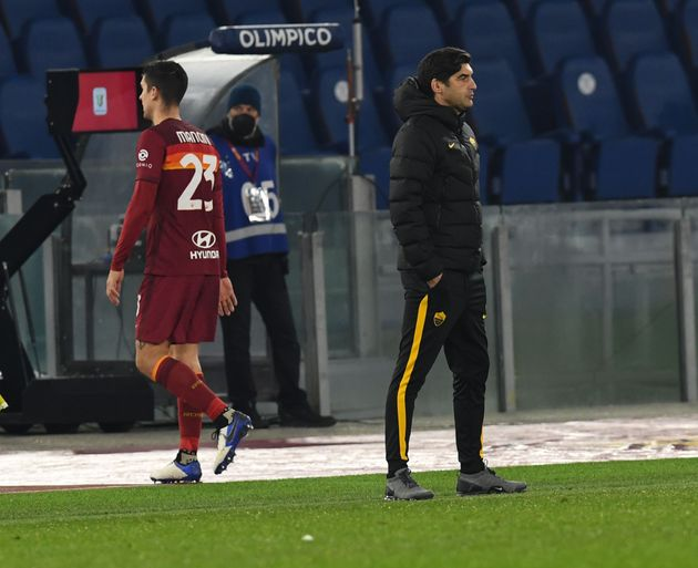 ROME, ITALY - JANUARY 19: Gianluca Mancini of AS Roma leaves the pitch for the red card during the Coppa...