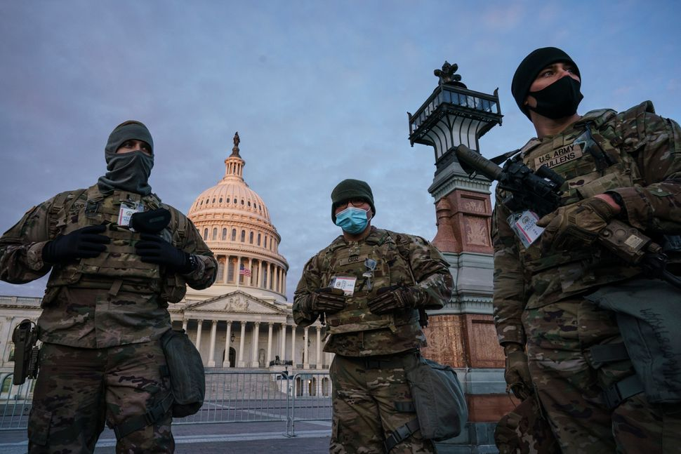 National Guard troops reinforce the security zone on Capitol Hill in Washington on Tuesday.