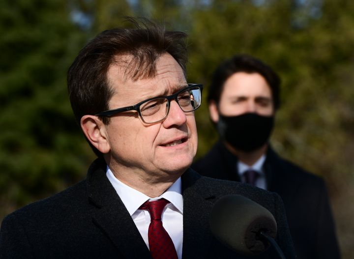 Environment Minister Jonathan Wilkinson, left, and Prime Minister Justin Trudeau hold a press conference in Ottawa on Nov. 19, 2020.