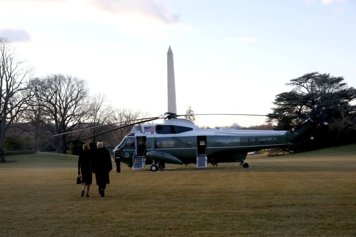 Donald Trump and first lady Melania Trump depart the White House to board Marine One ahead of the inauguration of president-elect Joe Biden, in Washington