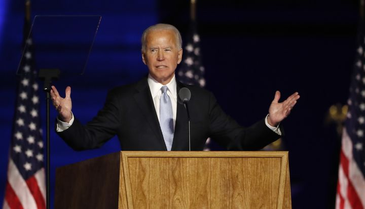 Joe Biden  delivers his victory address after being declared the winner in the 2020 presidential election in Wilmington, Del. on Nov. 7, 2020.
