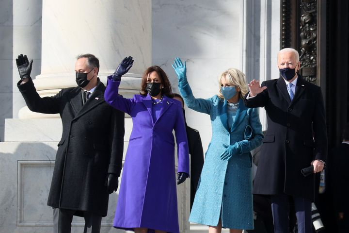 From left: Emhoff, Harris, Jill Biden and President Joe Biden wave as they arrive at the U.S. Capitol ahead of the inaugurati