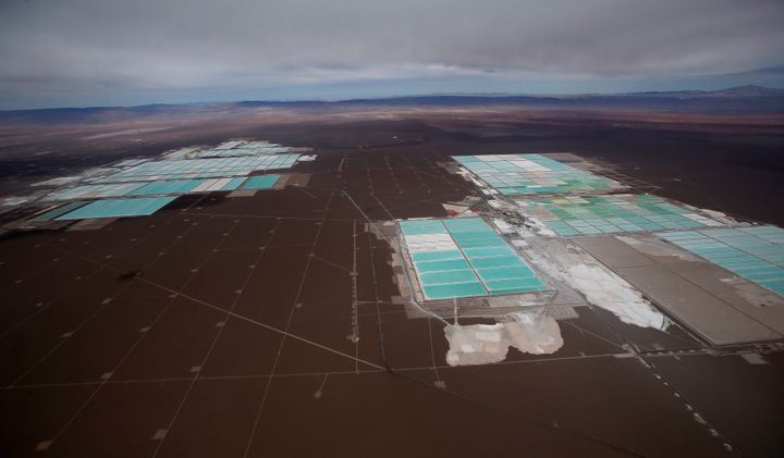 An aerial view shows the brine pools of SQM lithium mine on the Atacama salt flat in the Atacama desert of northern Chile.