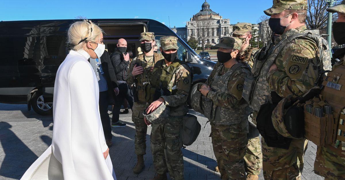 These Photos Of Lady Gaga Meeting Soldiers In Washington DC Has Everyone Making The Same Joke