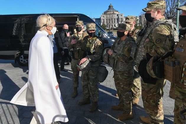 Lady Gaga meeting with National Guard soldiers in Washington