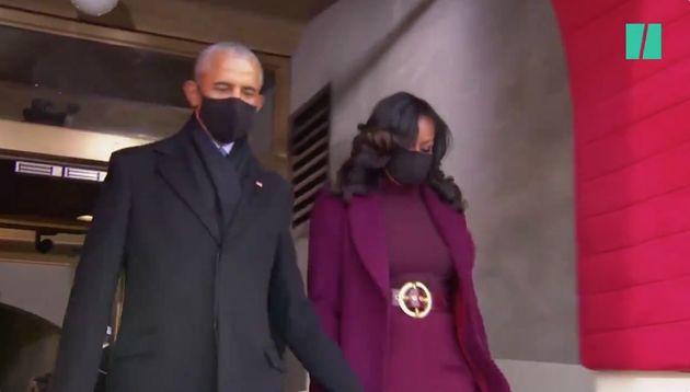 El matrimonio Obama en el acto de juramento de Joe