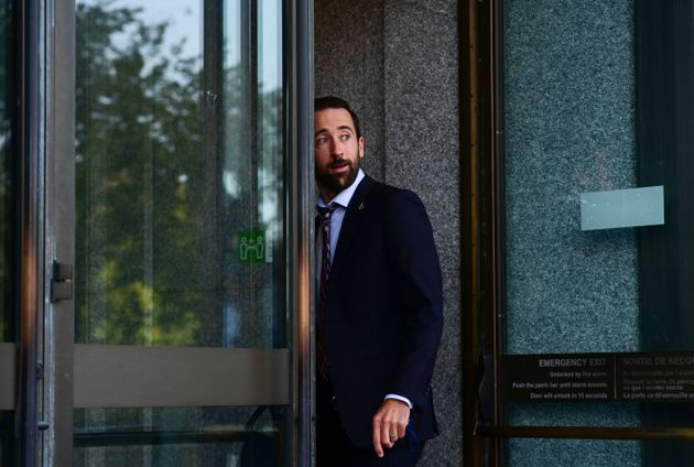 Conservative MP Derek Sloan arrives to a meeting in Ottawa on Sept. 22,