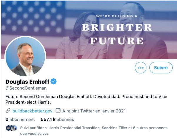 Le compte Twitter de Doug Emhoff, premier