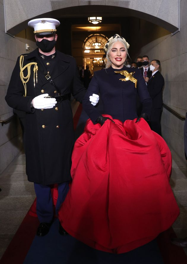 Lady Gaga enters the stage outside the US Capitol