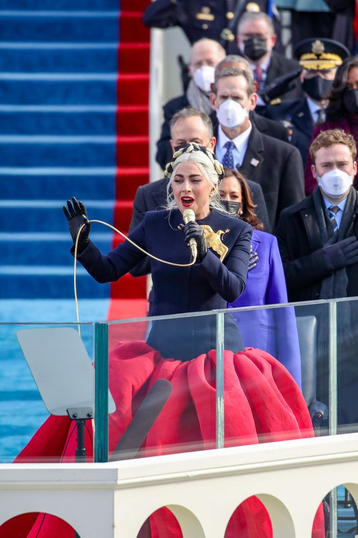 Gaga performing during the inauguration