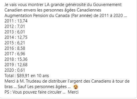 Non, cette publication Facebook ne montre pas la hausse des pensions au Canada depuis 10