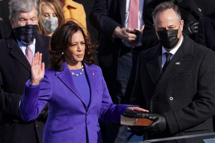 Kamala Harris is sworn as U.S. Vice President.