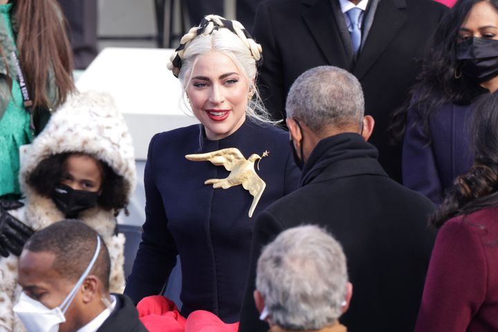 Lady Gaga arrives to sing the National Anthem at the inauguration of U.S. President Joe Biden on the West Front of the U.S. Capitol on January 20, 2021 in Washington, DC.