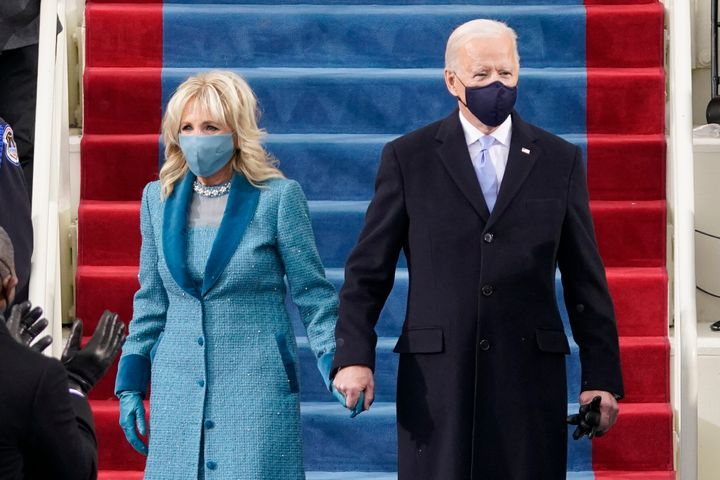 US President Joe Biden and his wife Dr. Jill Biden at the inauguration ceremony on Jan. 20, 2021.