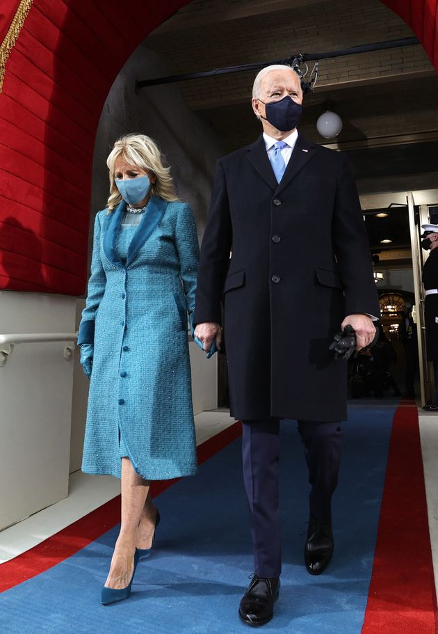 President Joe Biden and incoming first lady Jill Biden arrive for his inauguration as the 46th President at the Capitol on Wednesday.
