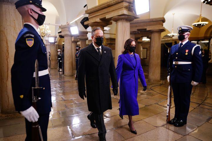 Vice President Kamala Harris arrives at the inauguration with her husband Doug Emhoff.