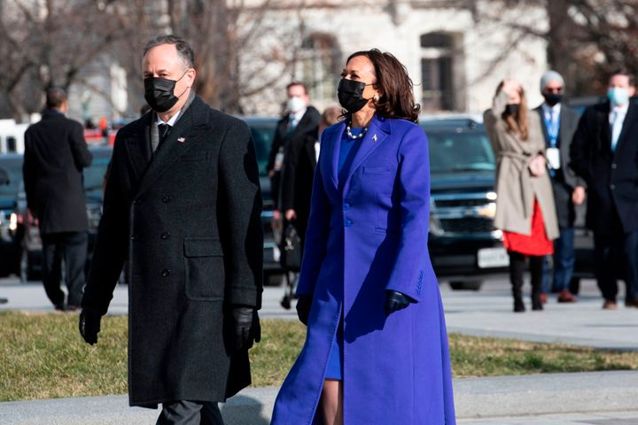Vice President Kamala Harris and her husband, Doug Emhoff, arrive at the U.S. Capitol on Wednesday.