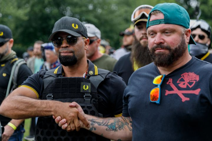 Leader of the Proud Boys Enrique Tarrio (left) and prominent member Joe Biggs (right) are now facing federal charges.