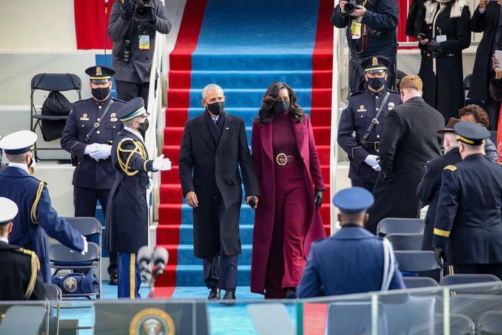 Former U.S. President Barack Obama and Michelle Obama.
