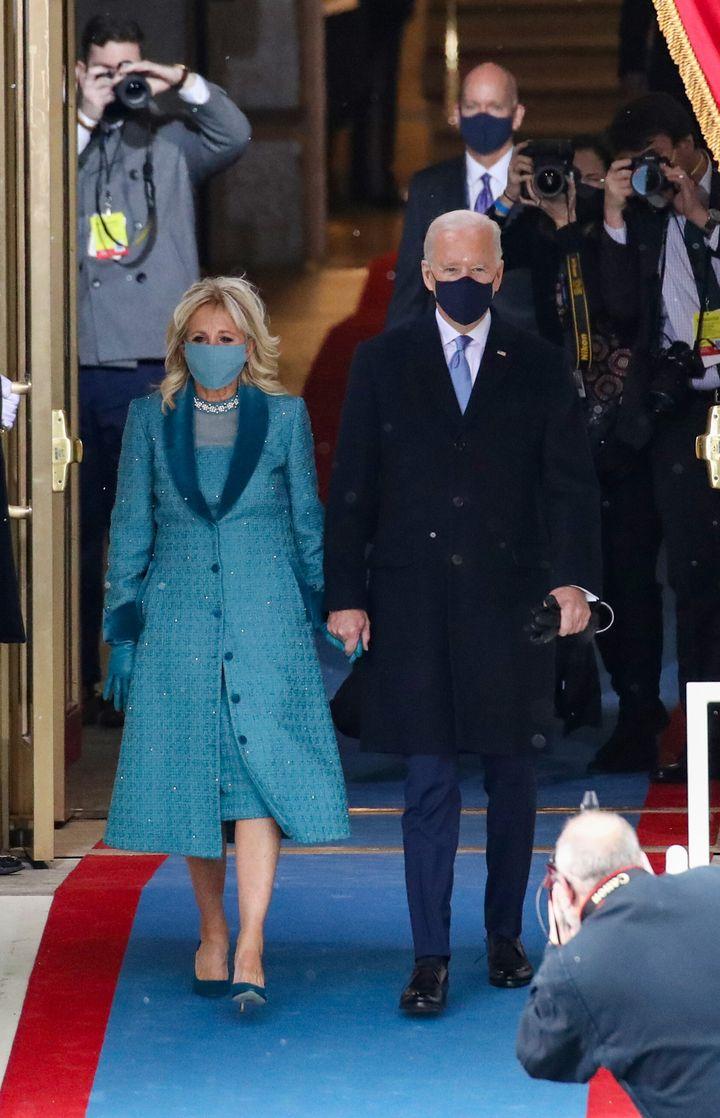 Jill y Joe Biden a su llegada al Capitolio.