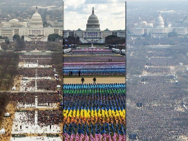 左からトランプ氏の就任式(2017年)、バイデン氏の就任式、オバマ氏の就任式(2009年)
