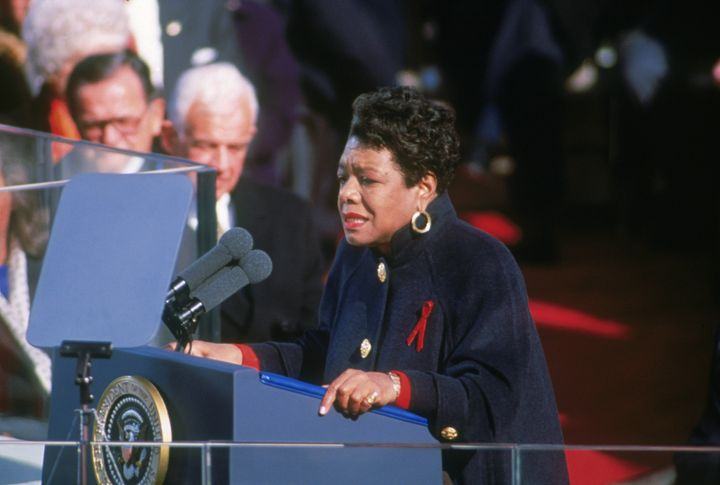 Maya Angelou reciting her poem 'On the Pulse of Morning' at Bill Clinton's inauguration on Jan. 20, 1993. She's wearing a Chanel coat given to her by Oprah Winfrey.