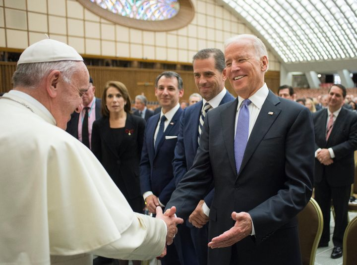 Pope Francis meets then Vice President Joe Biden at the Vatican on April 29, 2016.