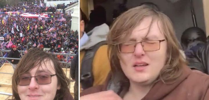 Patrick Edward McCaughey III is seen in social media footage taken at the Capitol on Jan. 6. He faces charges including assau