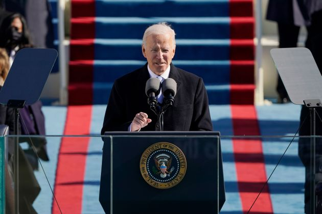 Joe Biden delivers a speech after being sworn in as the 46th president of the United States during the...