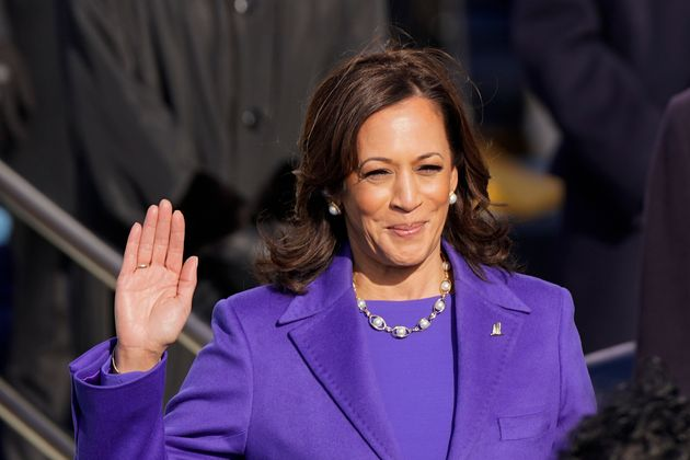 Kamala Harris is sworn in as vice president during the 59th Presidential Inauguration at the US Capitol...