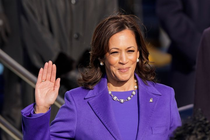 Kamala Harris is sworn in as vice president during the 59th Presidential Inauguration at the US Capitol in Washington, Wednesday, January 20, 2021.