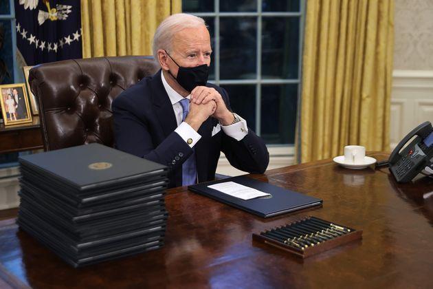 Joe Biden, ici dans le Bureau ovale de la Maison Blanche, à Washington, le 20 janvier