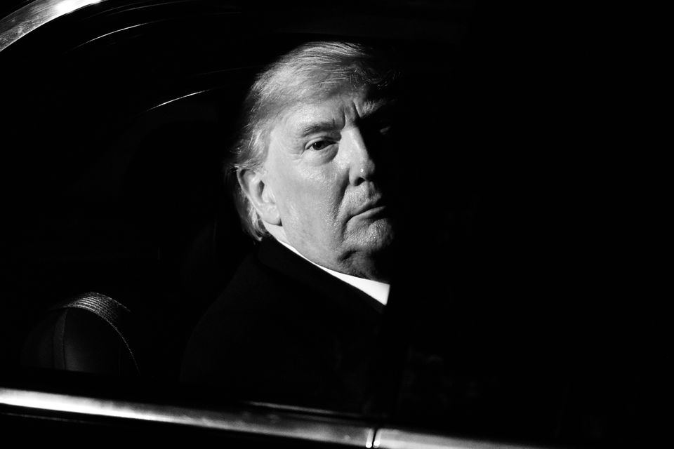 U.S. President Donald Trump leaves number 10 Downing Street after a reception on Dec. 3, 2019 in