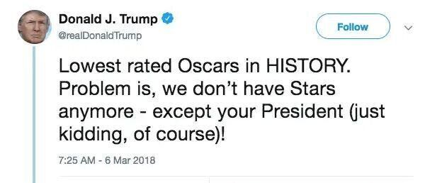 A three-year-old Tweet about the Oscars sums up Donald Trump's personality while in office, one author and historian says.