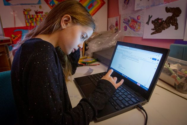 Freja Hagberg in 4th grade does remote learning in Kingston, Ont. on Jan. 5,