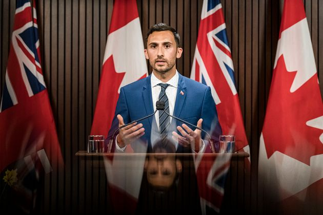 Ontario Minister of Education, Stephen Lecce makes an announcement at Queen's Park in Toronto on Aug,...