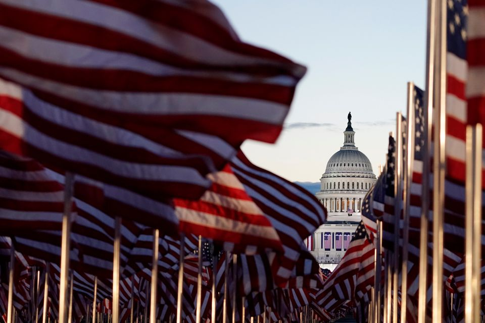Flags covered the National Mall for the