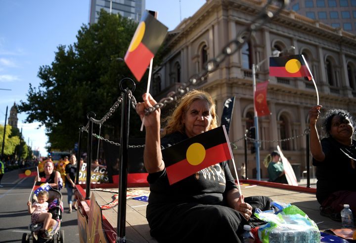 A peaceful protest in Adelaide on Jan. 26, 2020. Australia Day, formerly known as Foundation Day, is the official national day of Australia and commemorates the arrival of the First Fleet to Sydney in 1788.