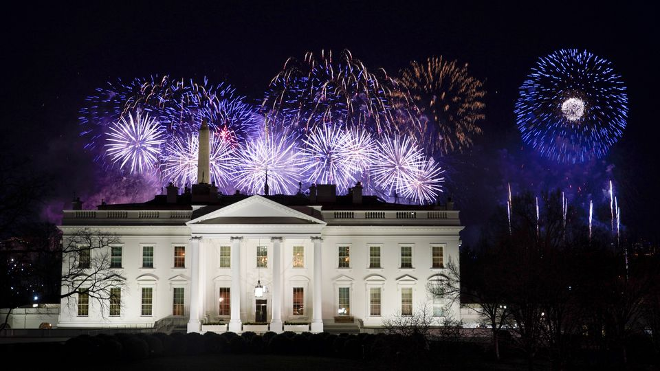 Fireworks lit up the sky at the end of the Biden inauguration events Wednesday