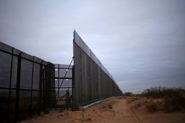 The new section of the bollard-type border wall erected in New Mexico, U.S., is seen from the Mexican...